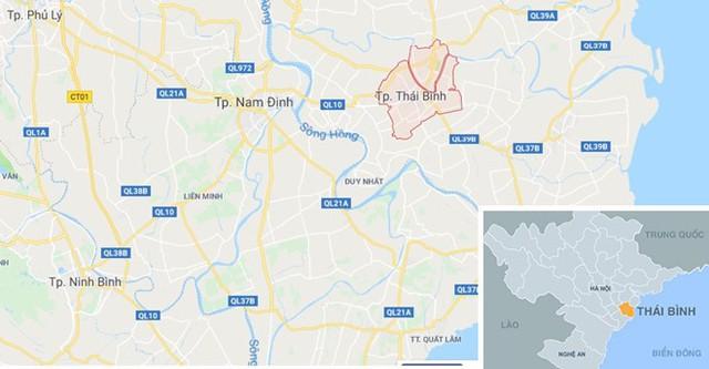 Vụ tạt axit xảy ra tại TP Thái Bình (dấu đỏ). Ảnh: Google Maps.