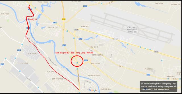 Để tránh trạm thu phí Bắc Thăng Long - Nội Bài, các tài xế đi vào đường Quang Minh để rẽ lên tỉnh lộ 35.     Ảnh: Google Maps