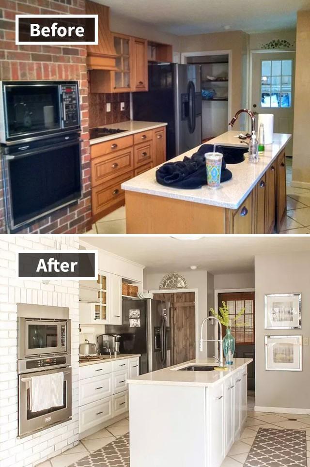 Sơn trắng, thay toàn bộ tay nắm tủ, chỉ nhiêu đó thôi căn bếp của bạn đã hoàn toàn khác biệt.