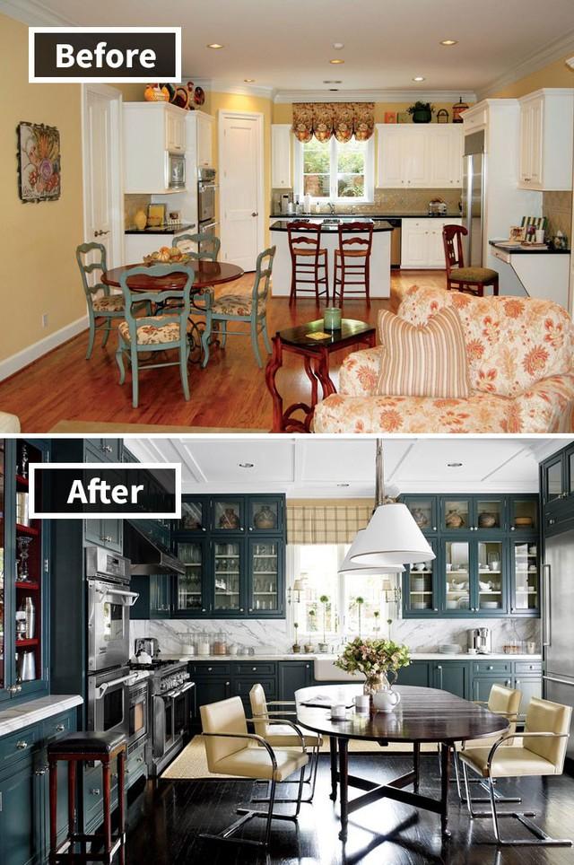 Gian bếp có phần sến sẩm được cải tạo thành gian bếp đầy đủ tiện nghi, hiện đại và sang chảnh.
