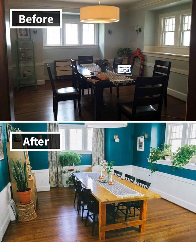 Cũng từng ấy vật dụng nhưng bạn thấy rằng việc kết hợp màu sắc đúng sẽ giúp cho căn phòng rực rỡ và tươi sáng hơn rất nhiều đúng không!