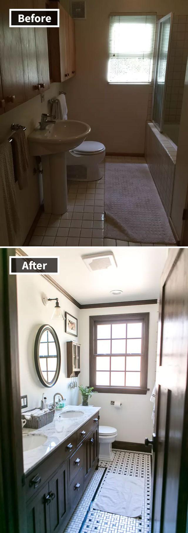 Phòng tắm ẩm thấp tối tăm được nới cửa sổ trở thành nơi tràn ngập ánh sáng tuyệt đẹp.