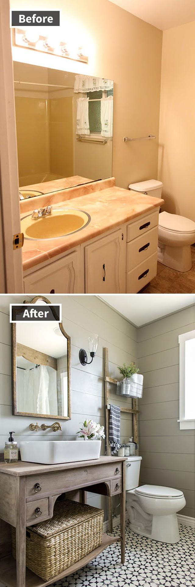 Một căn phòng tắm được thay da đổi thịt, trở nên sáng sủa và mát mẻ biết bao chỉ bằng cách thay đổi màu sắc và đồ trang trí.