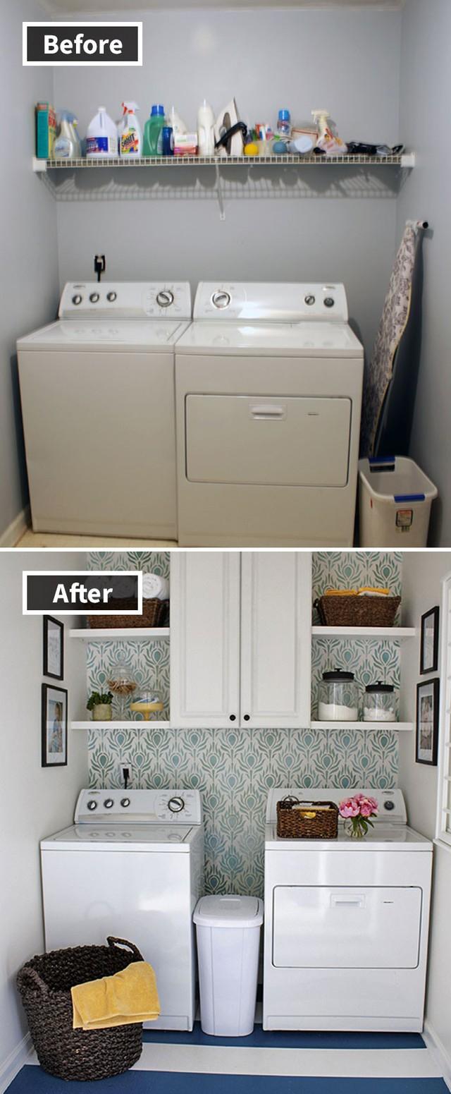 Một góc phòng giặt được sắp xếp lại gọn gàng hơn nhờ bộ tủ kệ phía trên.
