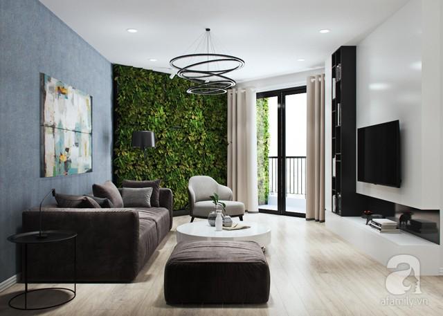 Phòng khách có ban công rộng rãi, trang trí bằng mảng tường cây chạy dài từ phía trong ra bên ngoài.