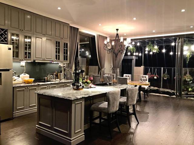 Phòng bếp nằm liền kề với phòng khách và có view hướng ra hồ cá. Nam ca sĩ chọn nội thất có màu ghi sang trọng cho toàn bộ không gian ở tầng 1.