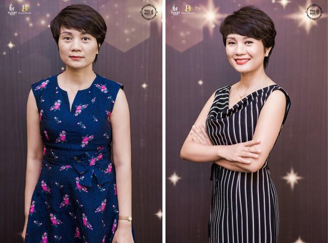 Chị Phạm Đoan trước và sau khi tham gia trải nghiệm tại sự kiện (Giám đốc công ty xuất nhập khẩu thiết bị Hoàng Dương)