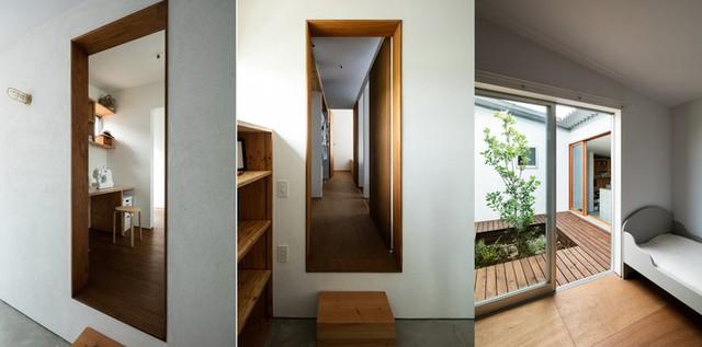 Nhà theo phong cách tối giản, đồ nội thất đa số kê sát tường và vuông vắn để tận dụng tối đa không gian.