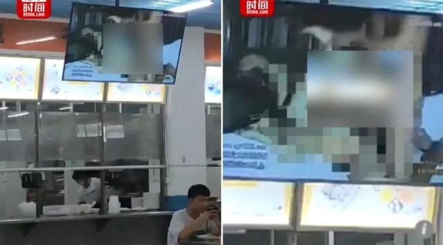 Tivi trong căng tin của trường cao đẳng ở tỉnh Hồ Nam chiếu phim khiêu dâm khi 30 sinh viên đang ngồi ăn tối. Ảnh: Btime.com.