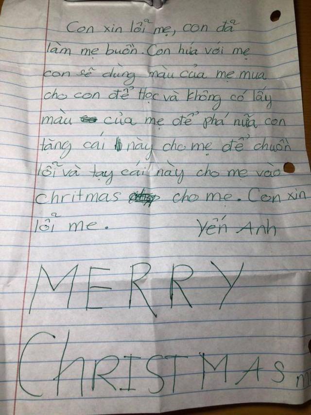 Lá thư xin lỗi và chúc mừng Giáng sinh gửi tới người mẹ của Yến Anh.