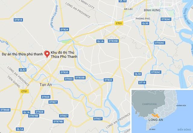 Thị trấn Thủ Thừa (chấm đỏ), gần Công ty cổ phần công trình đô thị Thủ Thừa. Ảnh: Google Maps.
