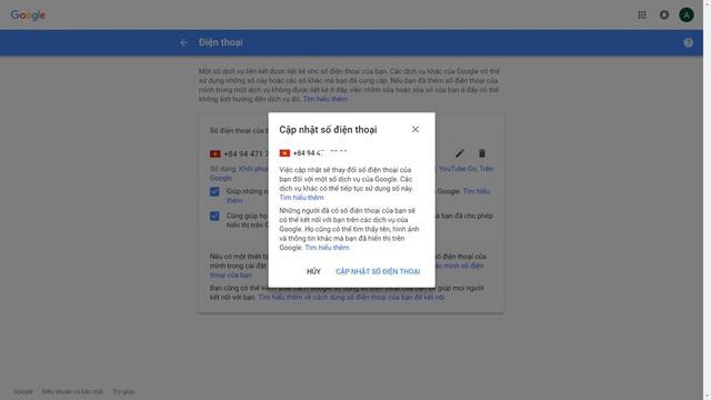 Người dùng truy cập theo đường dẫn để có thể thay đổi số điện thoại cho các dịch vụ của Google và Facebook.