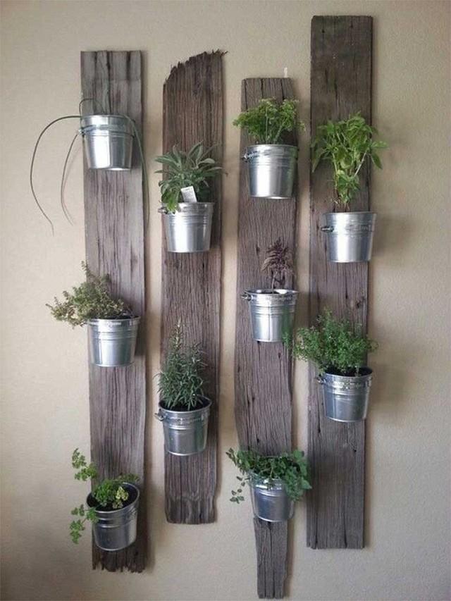11. Hay sáng tạo hơn với những thanh gỗ theo chiều dọc của bức tường rồi lại cụ thể chúng bằng những chậu cây móc nối lên. Ở đây, sự sáng tạo được thể hiện ở những chậu cây khi đây đều là xô đựng nước bằng kim loại.