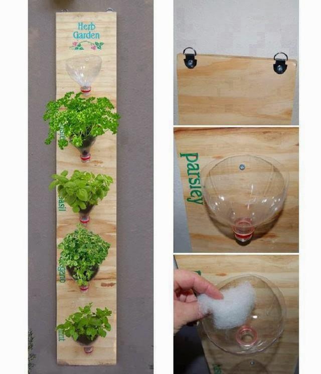 6. Bạn nghĩ sao về việc tận dụng những nắm chai nhựa lớn được cắt theo hình phễu để trồng cây. Quá sáng tạo đúng không, bạn chỉ cần một nắm phễu như hình, một ít đất trồng và tạo thành hệ thống hàng trên miếng gỗ là đã thành công.