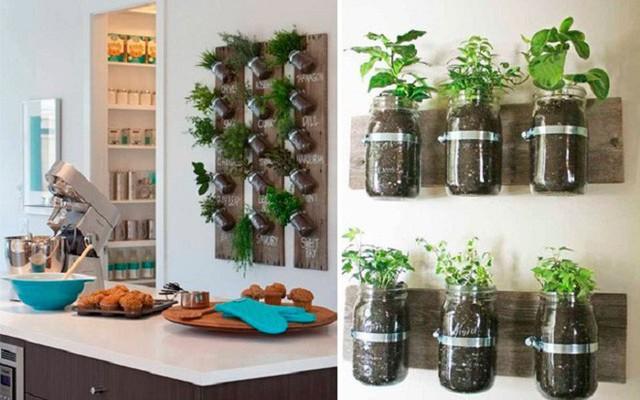 7. Đôi khi bạn cứ chạy đâu xa, tìm những cửa hàng đồ gia dụng nhưng không biết rằng, chỉ cần tận dụng những lọ thủy tinh đã sử dụng để chứa đất trồng cây là bạn đã có ngay một hệ thống cây xanh lung linh như thế này.