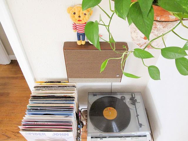 Những góc nhỏ đầy yêu thương được sắp xếp theo ngăn, ví dụ như khu vực để đĩa chạy ca nhạc đượm nét hoài cổ.