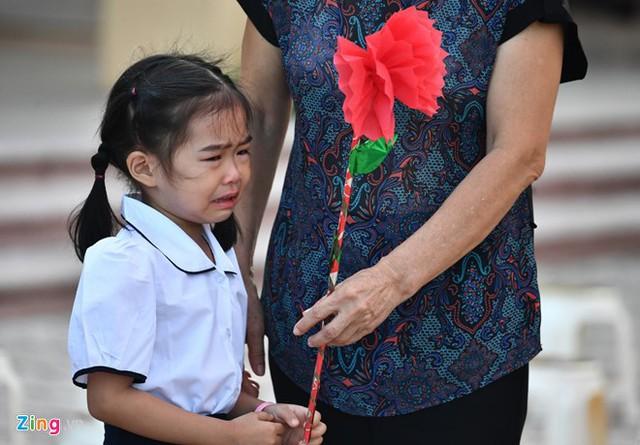 Bé Khánh Chi ở Hà Nội vào lớp 1, được bà đưa đi khai giảng khóc từ nhà đến trường. Bà cháu cho biết do còn thiếu vài tháng mới đủ 6 tuổi nên bé còn nhút nhát, hay quấy bố mẹ. Ảnh Hoàng Hà (Zing)