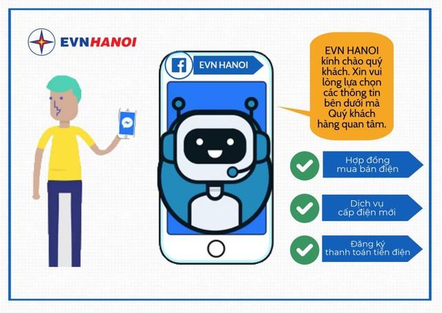 Chatbot tích hợp với trang Fanpage EVN HANOI với nhiều tính năng mới.