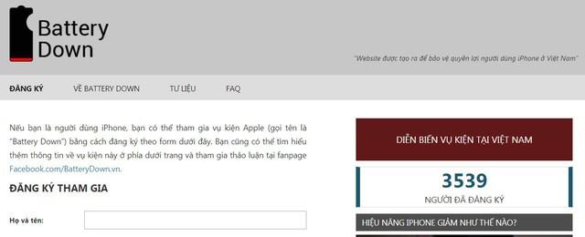 Đến trưa ngày 19/1 đã có 3539 người đăng ký tham gia kiện Apple trên website do các luật sư lập ra.