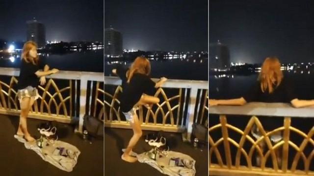 Cảnh cô gái nhảy xuống sông để tự tử vì tình khiến nhiều người sốc. Ảnh: Asiaone.