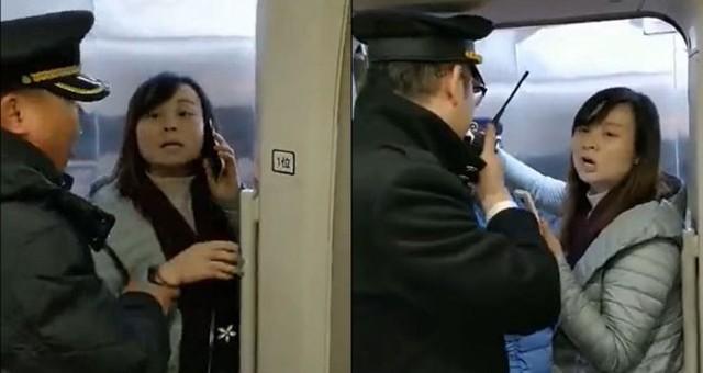 Người phụ nữ tranh cãi quyết liệt và bám trụ ở cửa để bắt cả đoàn tàu chờ chồng của mình.