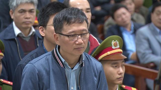 Trịnh Xuân Thanh tại phiên tòa xét xử 22 bị cáo trong vụ án xảy ra tại PVN. Ảnh: P.D.