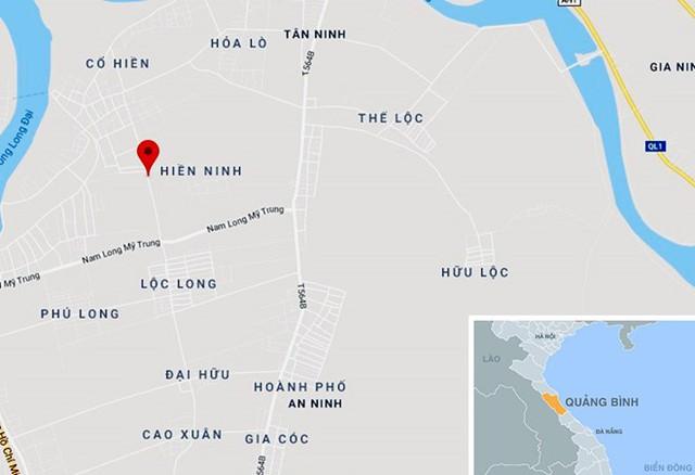 Vụ việc xảy ra gây xôn xao dư luận tại xã Hiền Ninh, huyện Quảng Ninh. Ảnh: Google Maps.