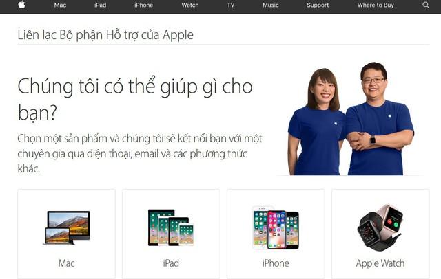 Giao diện trang hỗ trợ bằng tiếng Việt của Apple