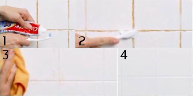 Đối với tường nhà gạch men hay bị bám bẩn vào các kẽ gạch, bạn có thể tận dụng kem đánh răng và bàn chải để đánh sạch các vết bẩn đó một cách nhanh chóng.