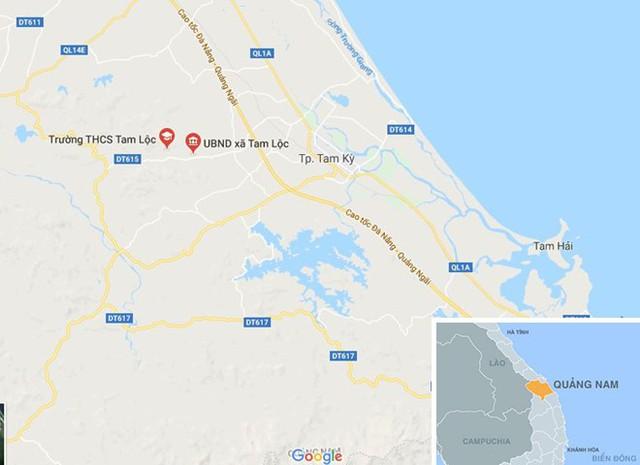 Xã Tam Lộc, huyện Phú Ninh (Quảng Nam), nơi ông Trung giữ chức vụ Bí thư Đảng ủy xã (nhiệm kỳ 2015-2020). Ảnh: Google Maps.