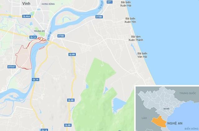 Xã Hưng Lợi (màu đỏ) ở Nghệ An. Ảnh: Google Maps.