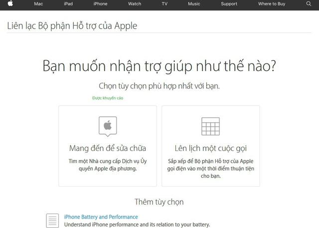 Bạn có thể đặt lịch hẹn để Apple gọi lại cho bạn vào lúc thích hợp