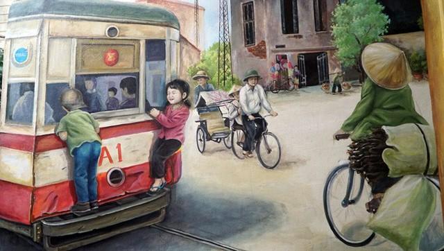 Bức tranh về những chuyến xe lửa ở Thủ đô gợi nhớ lại ký ức về Hà Nội xưa cho những người lớn tuổi.