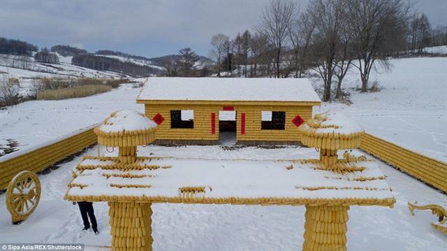 Nhà được bao phủ tuyết