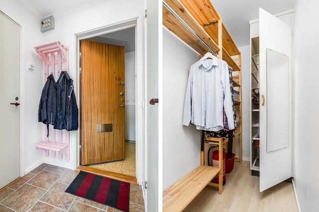 Lối hành lang được tận dụng tạo thành không gian lưu trữ khá dư giả cho căn hộ.