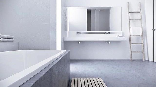 Phòng tắm đơn giản với tông màu xám - trắng chủ đạo của ngôi nhà.