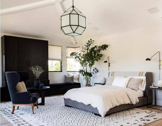 Chậu cây mang lại cái nhìn mới mẻ kết hợp với tương phản của màu đen và trắng trong căn phòng.