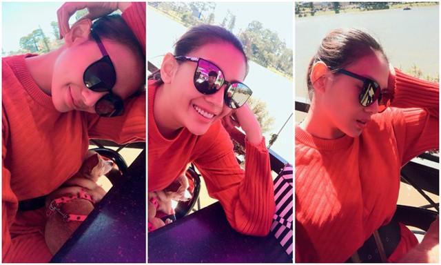 Giống Hoa hậu Kỳ Duyên, siêu mẫu Võ Hoàng Yến cũng trải qua ngày đầu năm ở xứ cao nguyên Đà Lạt. Cô đăng ảnh selfie với áo len đỏ rực và hỏi người hâm mộ có chỗ nào ăn ngon ở phố núi.