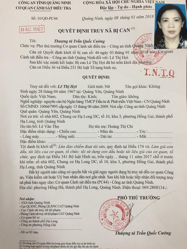 Quyết định truy nã của Cơ quan CSĐT. Ảnh: K.Nguyễn