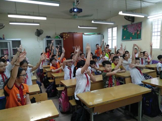 Truyền thông về giới tính cho học sinh Trường Tiểu học Nguyễn Bá Ngọc, Ba Đình, Hà Nội. Ảnh: M.V
