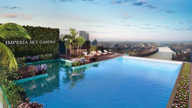 Bể bơi vô cực trên tầng mái dự án Imperia Sky Garden