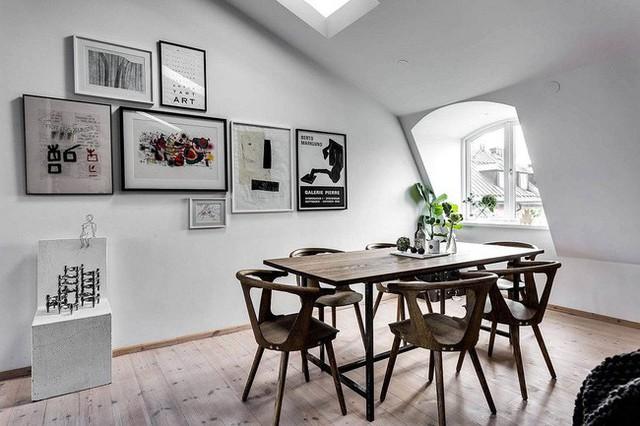 Phòng trưng bày kết hợp khu vực ăn uống căn hộ nhỏ với phong cách Scandinavia.