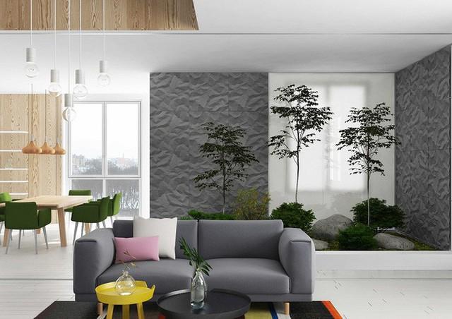 Một khu vườn nhỏ được trồng ngay tại phòng khách của căn hộ. Với một loài cây rễ gọc, vài cây bụi nhỏ và tảng đá lớn là bạn đã có ngay một khu vườn của riêng mình rồi.