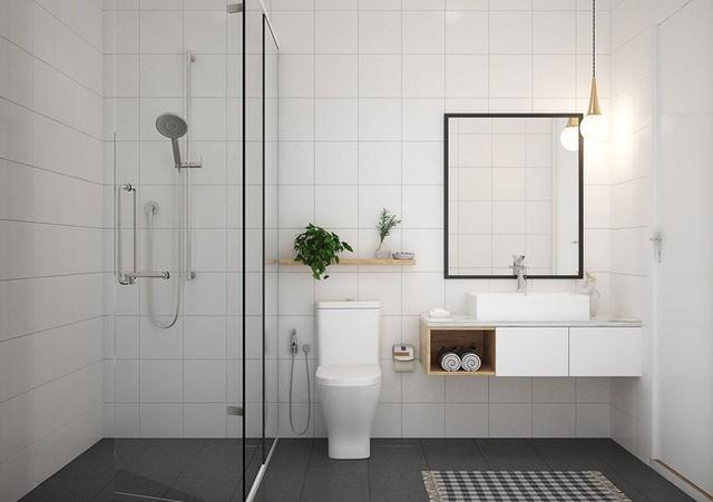 Phòng vệ sinh đầy đủ công năng bố trí trên gác lửng.