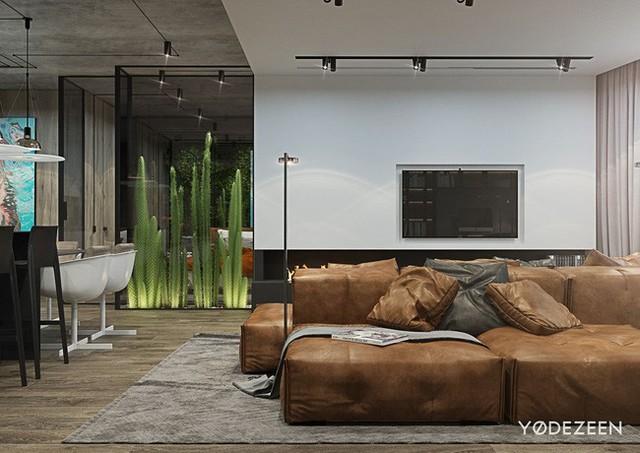 Căn hộ này được thiết kế theo phong cách sa mạc với chủ đề trang trí là cây xương rồng, vì lý do đơn giản là chủ nhân ngôi nhà đặc biệt yêu thích loài cây này.