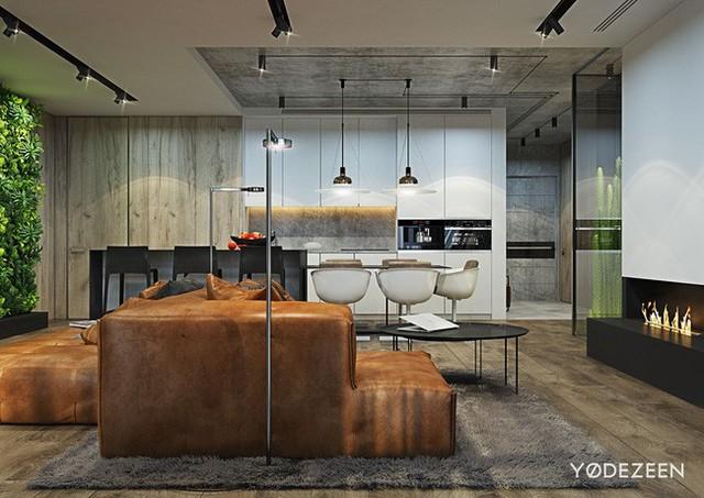 Bộ sofa màu nâu trầm được đặt hướng về phía bếp lửa tạo nhiệt huyết và năng lượng cho toàn bộ không gian.