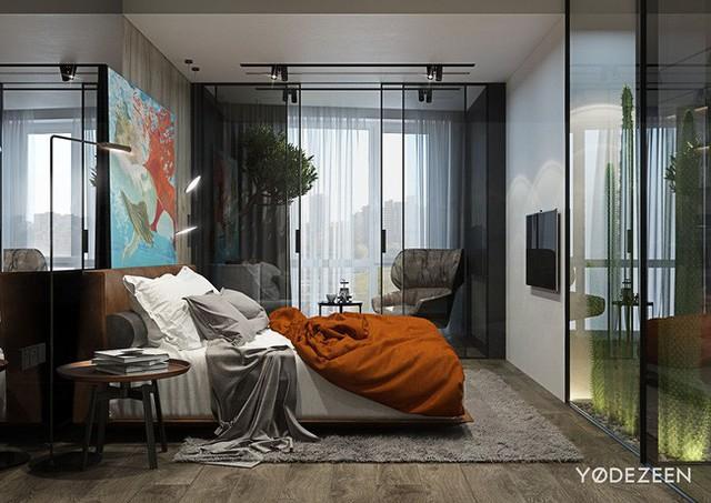 Tiếp liền không gian qua bức tường xương rồng là phòng ngủ với gam màu cam nồng kết hợp với thảm trải sàn màu xám theo phong cách nhiệt đới.