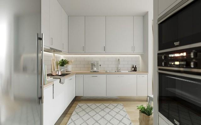 Tủ bếp với gam màu trắng kết hợp màu gỗ sồi.