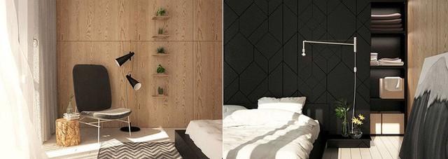 Phòng ngủ được trang trí các kệ nhỏ đặt những chậu cây xinh xinh. Cửa kéo cho phép giấu kín khu vực lưu trữ đồ dùng sinh hoạt cá nhân.
