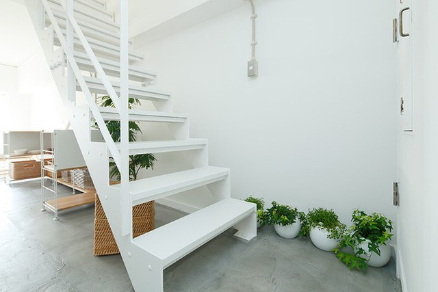 Cầu thang lên tầng 2 được thiết kế cùng tông màu với tường, thêm những chậu hoa để căn phòng thêm ấn tượng.
